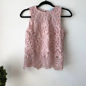 NWT She and Sky Pink Lace Tank Top Ruffle Trim